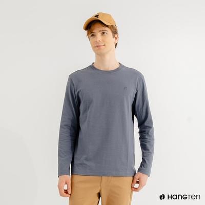 Hang Ten-男裝-厚磅腳丫長袖T恤-藍色