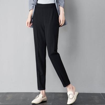 初色  薄款韓版休閒九分西裝褲-黑色-(M-2XL可選)