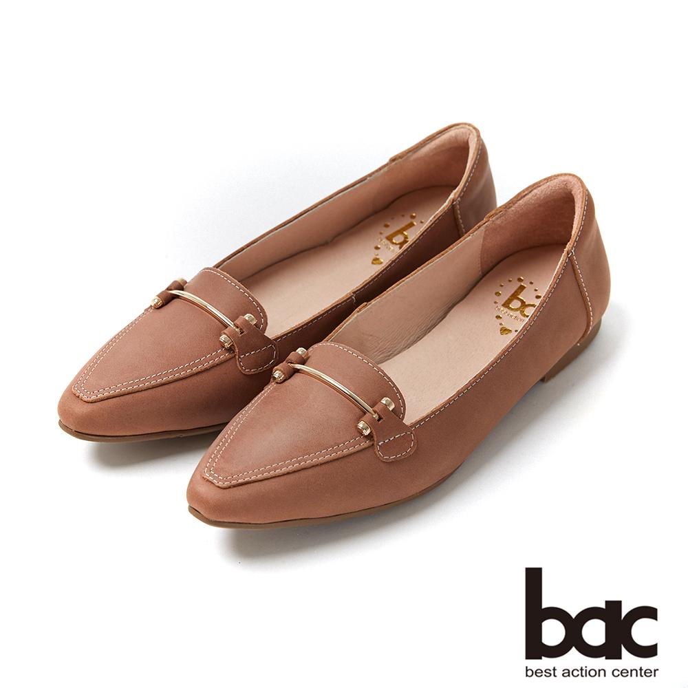 bac愛趣首爾 - 簡約尖頭不對襯車鋒線平底包鞋-咖啡色 @ Y!購物