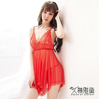 性感睡衣 輕柔蕾絲飄逸薄紗吊帶睡裙。紅色 久慕雅黛