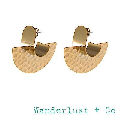 Wanderlust+Co 澳洲品牌 閃耀光芒耳環 金色半圓形耳環 NIA