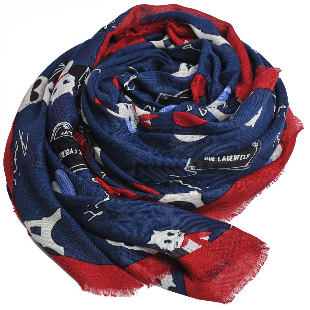 Karl Lagerfeld 老佛爺Q版貓咪巴黎風格混喀什米爾造型圍巾(深藍底/紅邊)