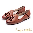 Pineapple Outfitter 質感皮革流蘇樂福平底鞋-棕色