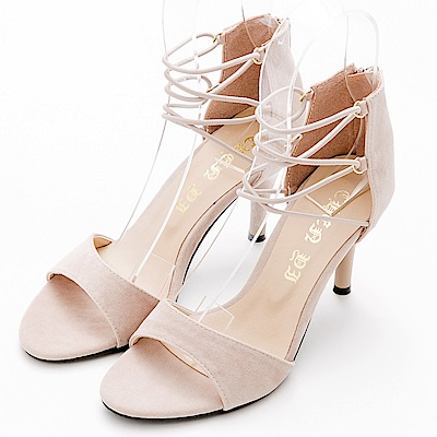 River&Moon涼鞋.一字繞踝帶細絨高跟涼鞋-米