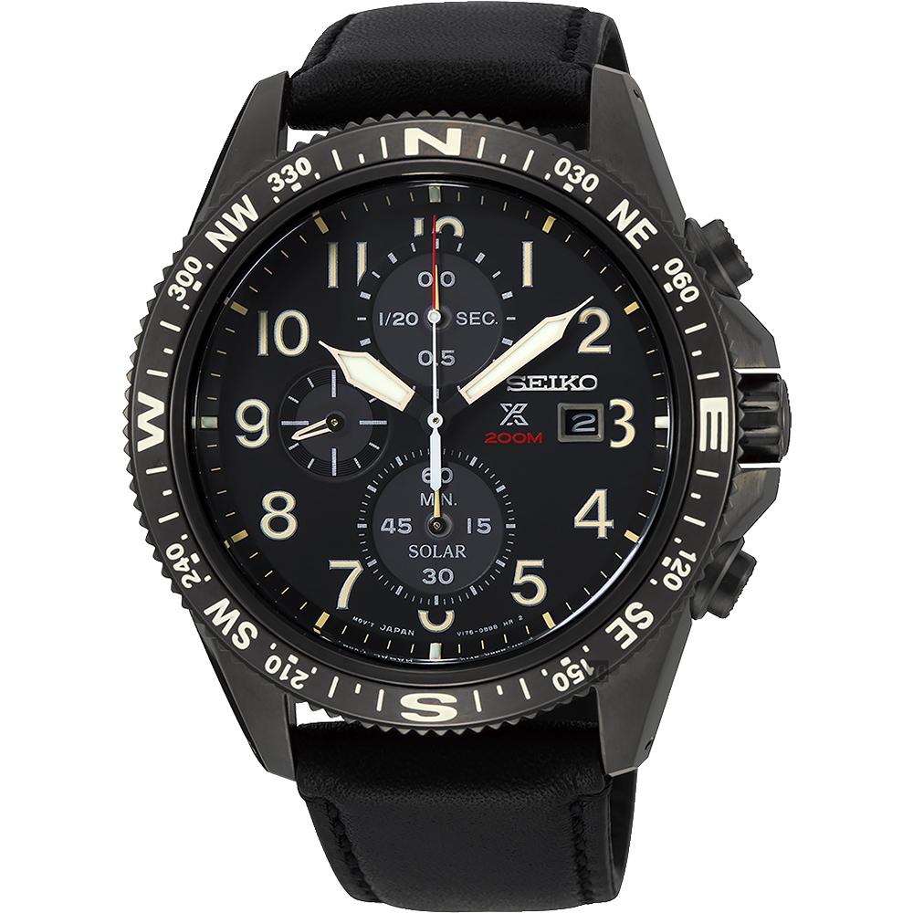 SEIKO精工 PROSPEX 太陽能計時手錶(SSC707P1)-黑/44mm