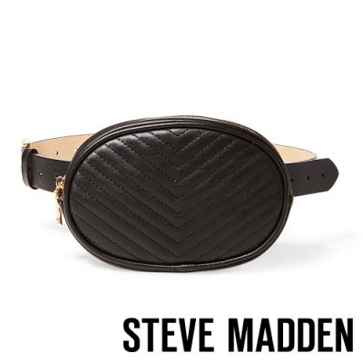 STEVE MADDEN-W-LEADER 經典LOGO素面荔枝壓紋腰包-黑色