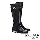 長靴 MODA Luxury 摩登俐落拼接設計金屬釦帶粗跟長靴-黑