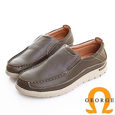 GEORGE 喬治皮鞋 輕量系列 素面真皮懶人休閒鞋 -灰綠色