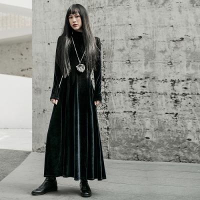 設計所在Style-暗黑風中式國風修身絨料旗袍