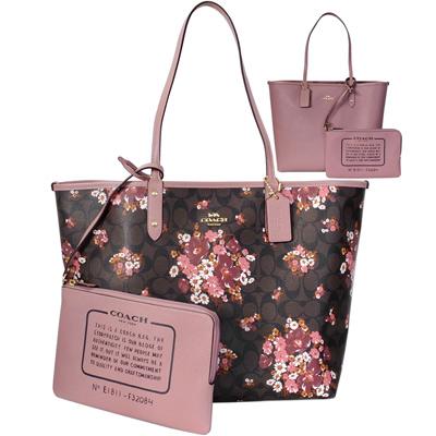 COACH深咖C Logo小雛菊花叢雙面使用肩背大款購物托特包