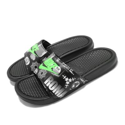 Nike 涼拖鞋 Benassi JDI Print 男女鞋 輕便 夏日 舒適 套腳 情侶穿搭 黑 綠 631261042