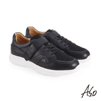 A.S.O 機能休閒 萬步健康鞋 魔鬼黏款休閒鞋-黑