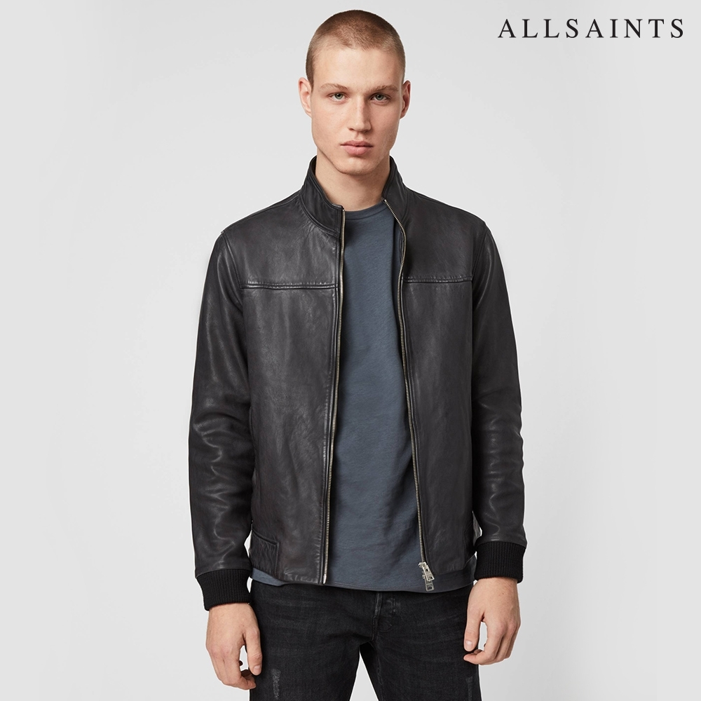 ALLSAINTS ASTORIA 極簡柔順飛行員設計羊皮皮衣夾克外套-黑