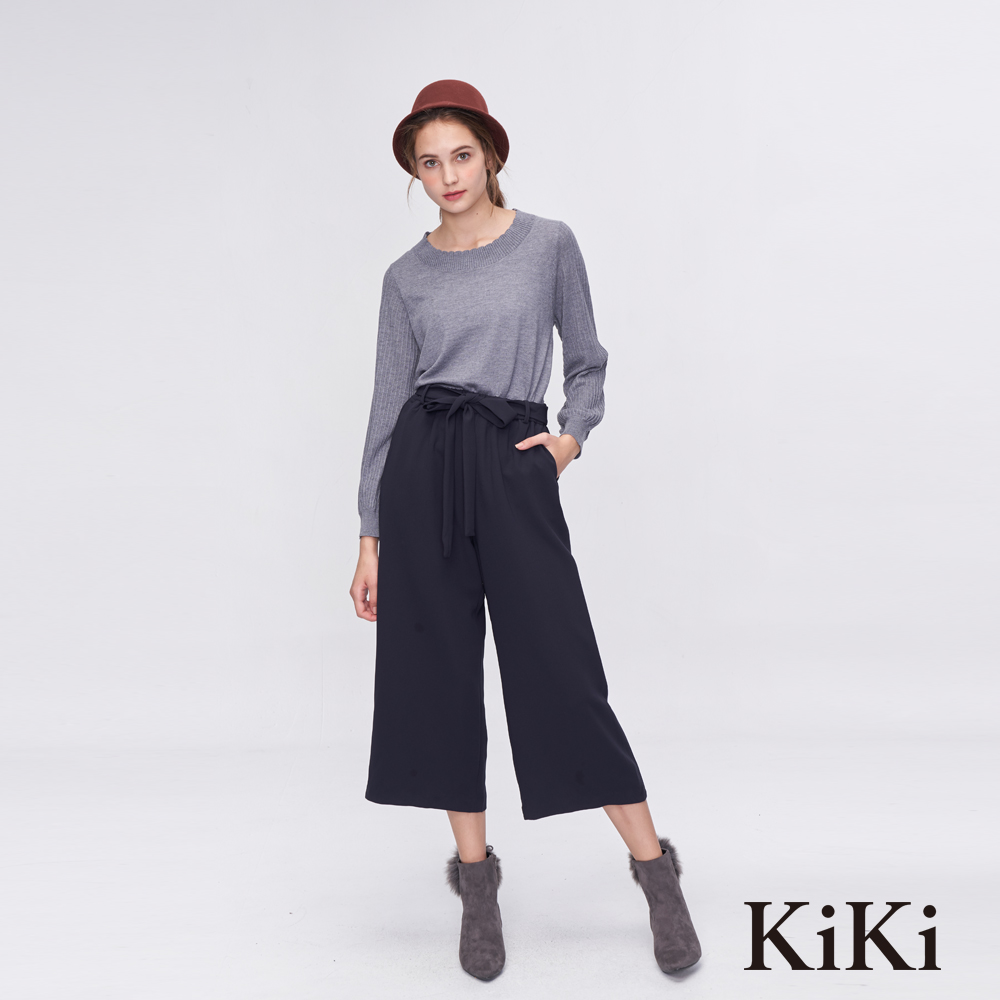 KiKi INLook高腰綁結垂墜感七分寬褲