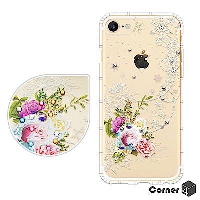 Corner4 APPLE iPhone6s/6 4.7吋 奧地利彩鑽防摔手機殼-緋雪薔薇