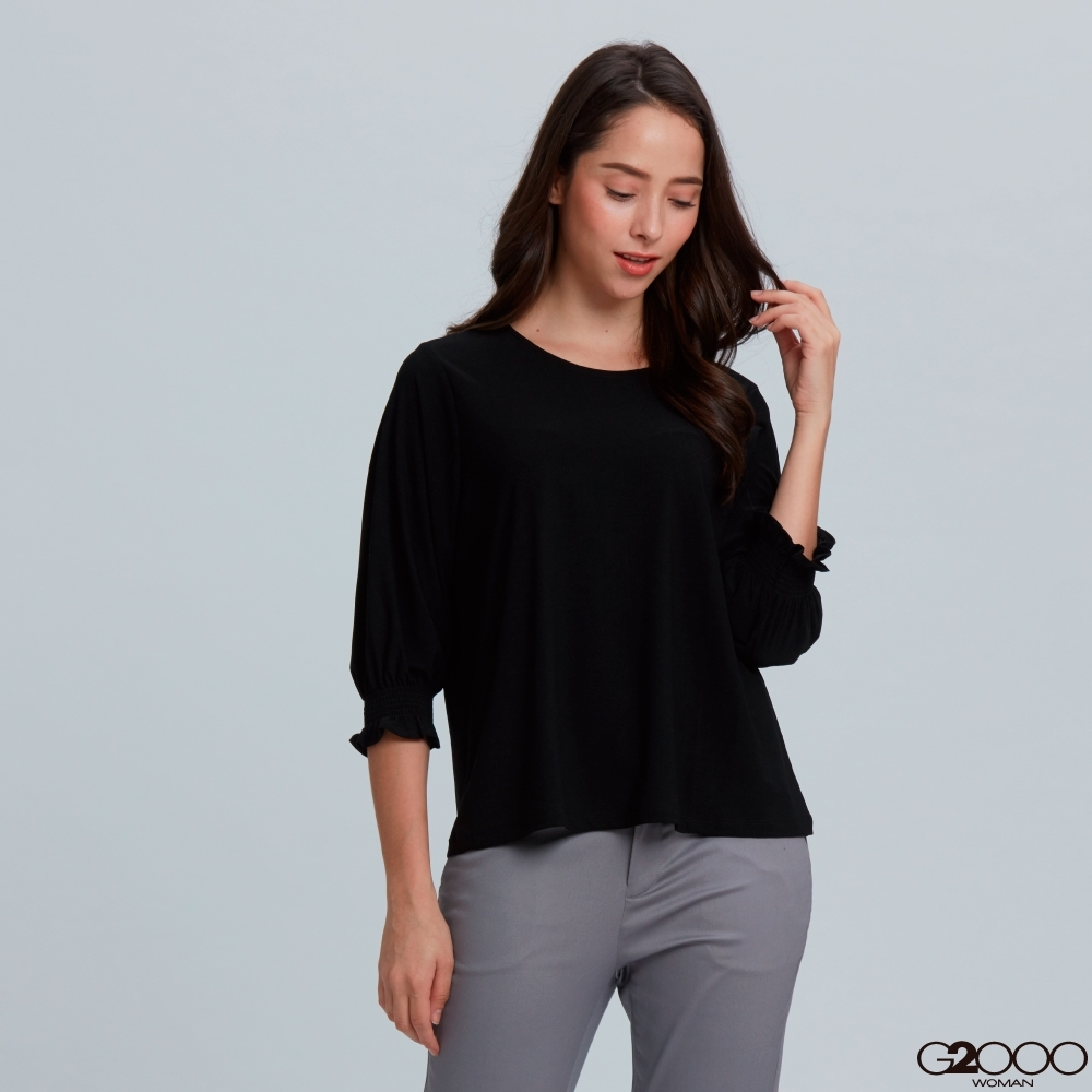 G2000素面短袖休閒T裇-黑色