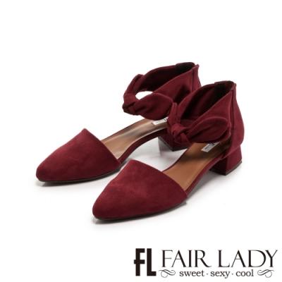 Fair Lady蝴蝶結繫踝尖頭低跟鞋 酒紅