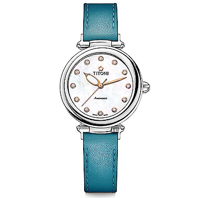 TITONI 梅花錶 炫美時尚之約械錶女錶-珍珠貝x藍錶帶/33.5mm