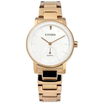 CITIZEN 簡約時尚 礦石強化玻璃 日本機芯 不鏽鋼手錶-白x香檳金/34mm