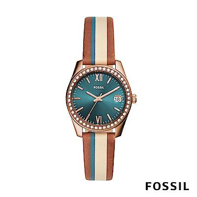 FOSSIL SCARLETTE MINI 米x棕x藍綠色復古條紋鑲鑽皮革女錶