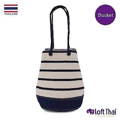 Loft THAI | 泰.兩用帆布水桶包(大) | Stripe/navy