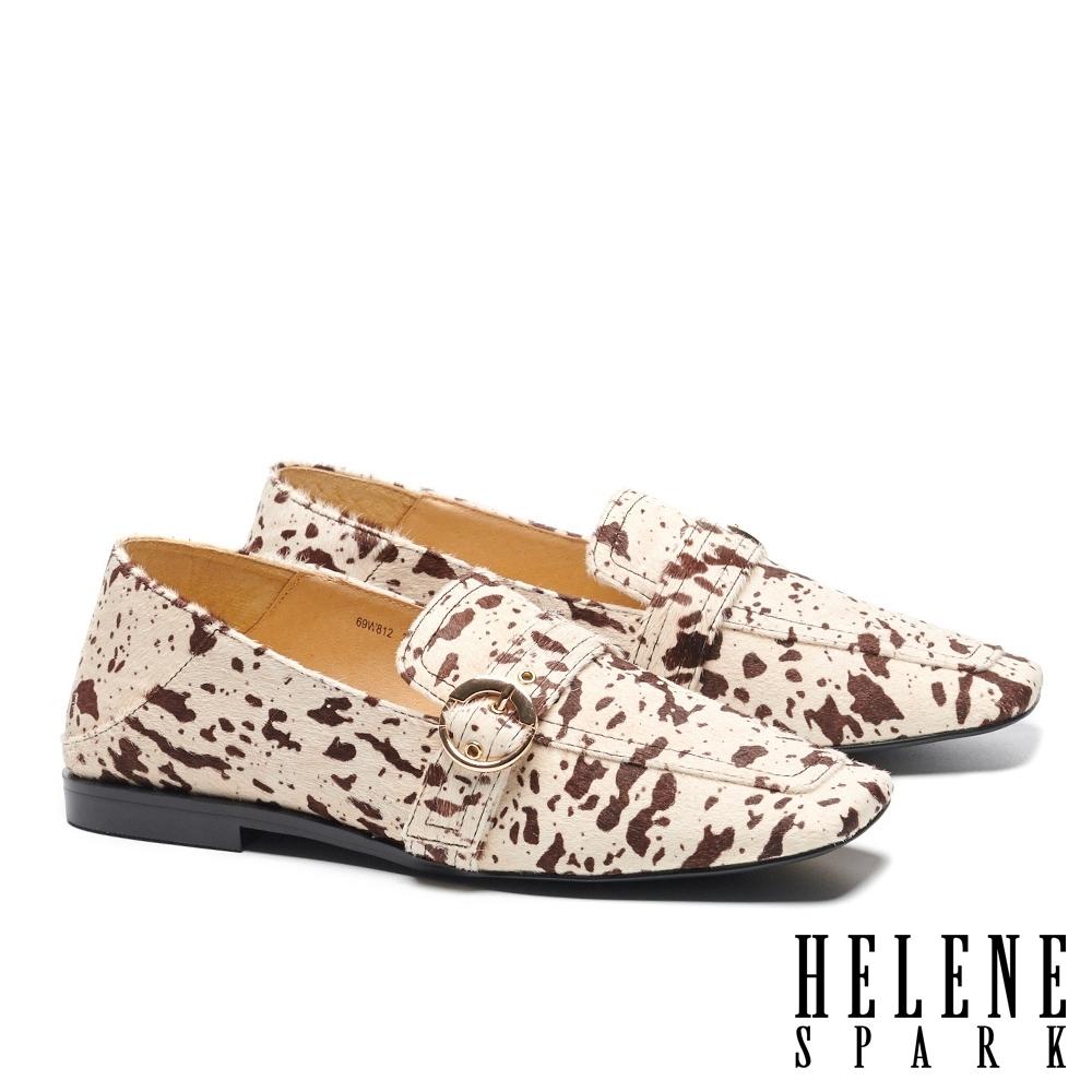 低跟鞋 HELENE SPARK 復古時髦乳牛紋樂福方頭低跟鞋-咖