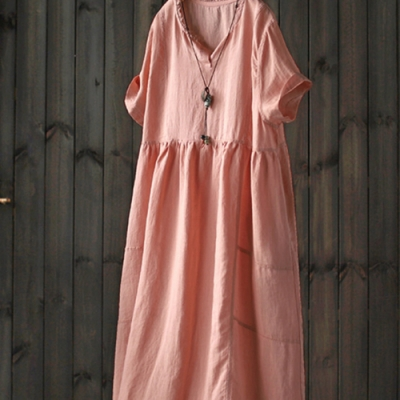 蕾絲拼接亞麻開叉領a字長洋裝(兩色)-設計所在