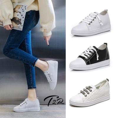 時時樂限定-T2R-正韓空運-真皮內增高小白鞋-多款