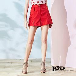 IGD英格麗 立體口袋設計短褲-紅