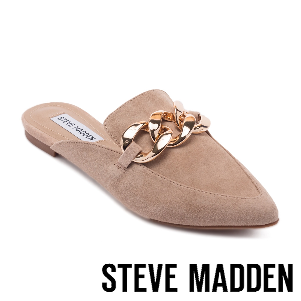 STEVE MADDEN-FINN 飾釦尖頭平底穆勒拖鞋-卡其