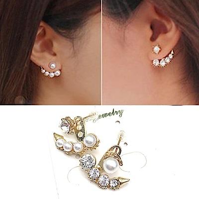 Hera 赫拉 韓劇同款氣質不對稱鑲鑽珍珠耳環