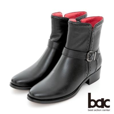 【bac】擦色沖孔打洞平底短靴-黑