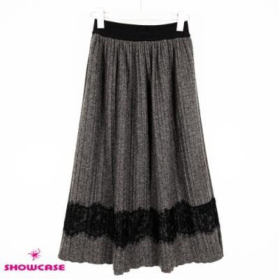 【SHOWCASE】冬款毛呢絨感鬆緊腰拼接蕾絲百褶膝下裙-灰