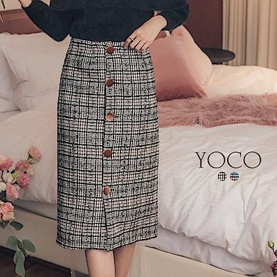 東京著衣-yoco 雅致名伶絨布排釦復古格紋織紋裙-S.M.L(共二色)