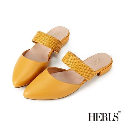 HERLS穆勒鞋 編織橫帶鏤空尖頭低跟穆勒鞋拖鞋 芥黃色