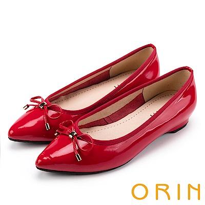 ORIN 典雅輕熟OL 牛皮百搭尖頭低跟鞋-鏡紅