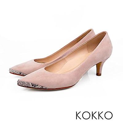 KOKKO - 生活在他方素面拼接尖頭中跟鞋-淡蓮藕