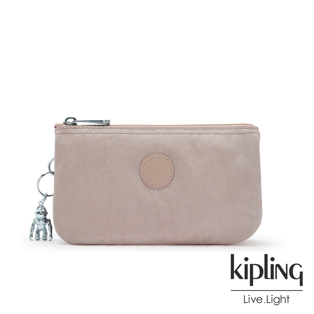 Kipling 玫瑰拿鐵色三夾層配件包-CREATIVITY L