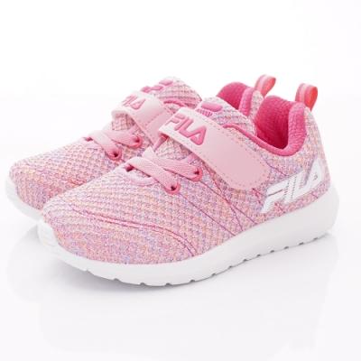 FILA頂級童鞋 針織輕量運動款 EI29T-551粉桃