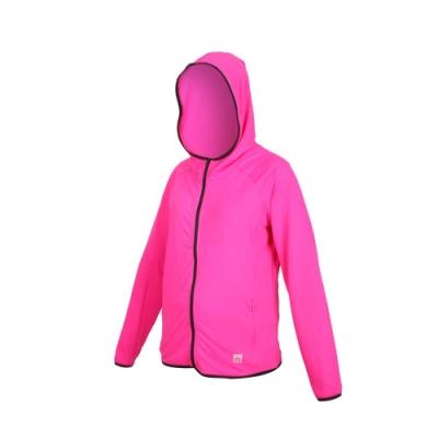 FIRESTAR 女彈性連帽防曬外套-慢跑 路跑 連帽外套 排汗 反光 JL577-46 桃紅黑