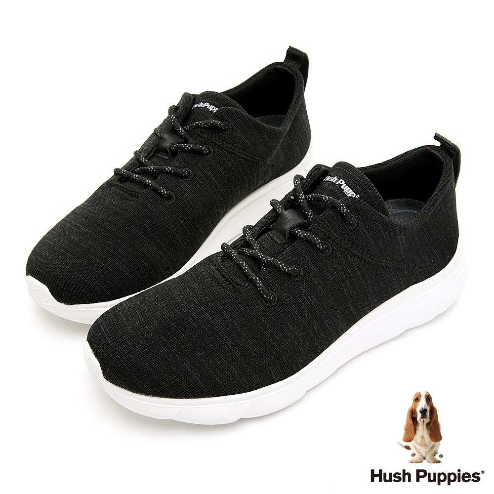 Hush Puppies 舒適針織休閒男鞋-黑色