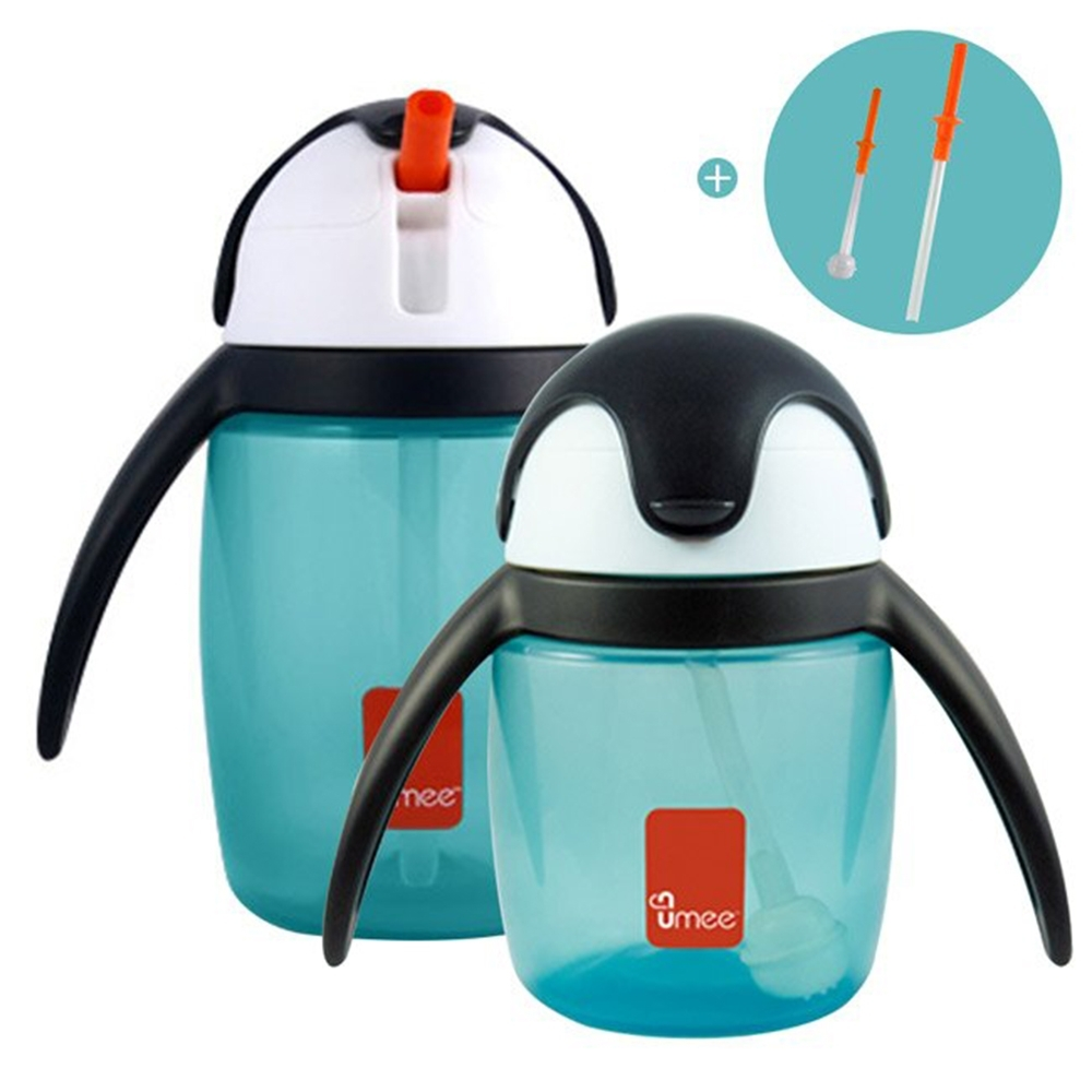 【荷蘭 Umee】 優酷企鵝吸管杯組 240+360ml 加贈替換吸管2組 (2色可選)