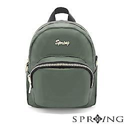 SPRING-微光澤輕量多用迷你後背包-經典軍綠