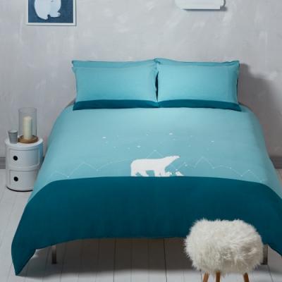 YVONNE COLLECTION 北極熊加大三件式被套+枕套組(240x210公分)-淺藍綠