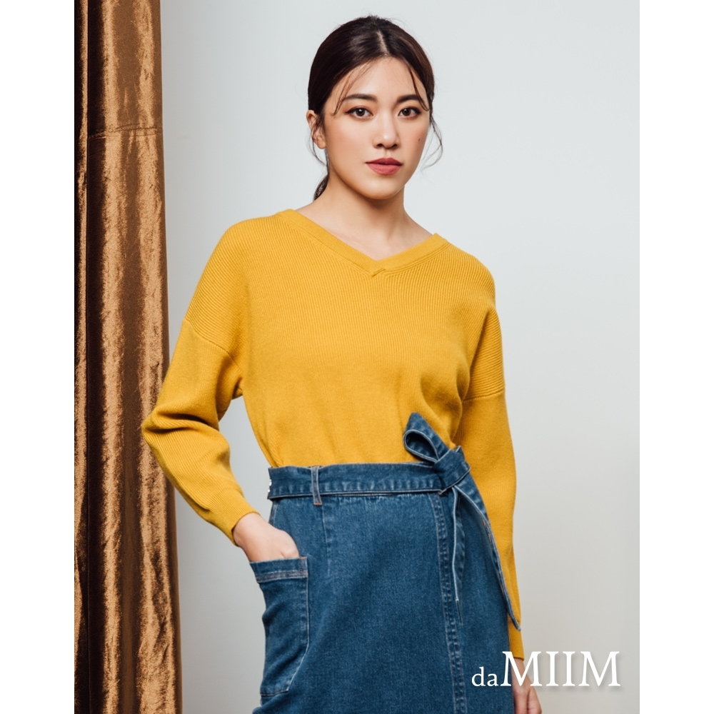 daMIIM兔絨紗V領短版針織上衣-二色-芥黃色