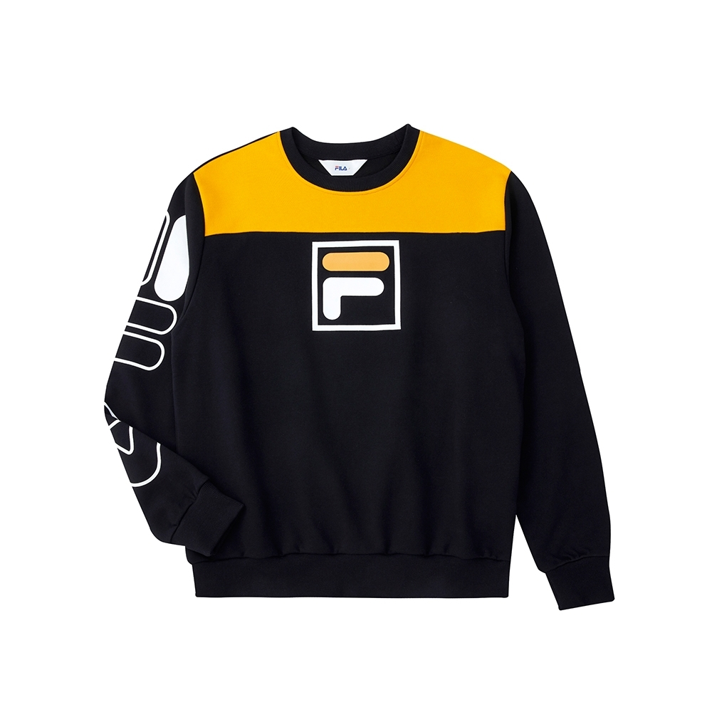 FILA 長袖圓領T恤-黑色 1TEU-5513-BK