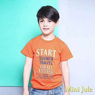 Mini Jule 上衣 雙色字母印花圓領短袖T恤(桔)