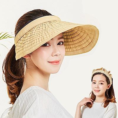 幸福揚邑 防曬抗UV髮圈大帽檐顯瘦可折疊空頂遮陽帽-米