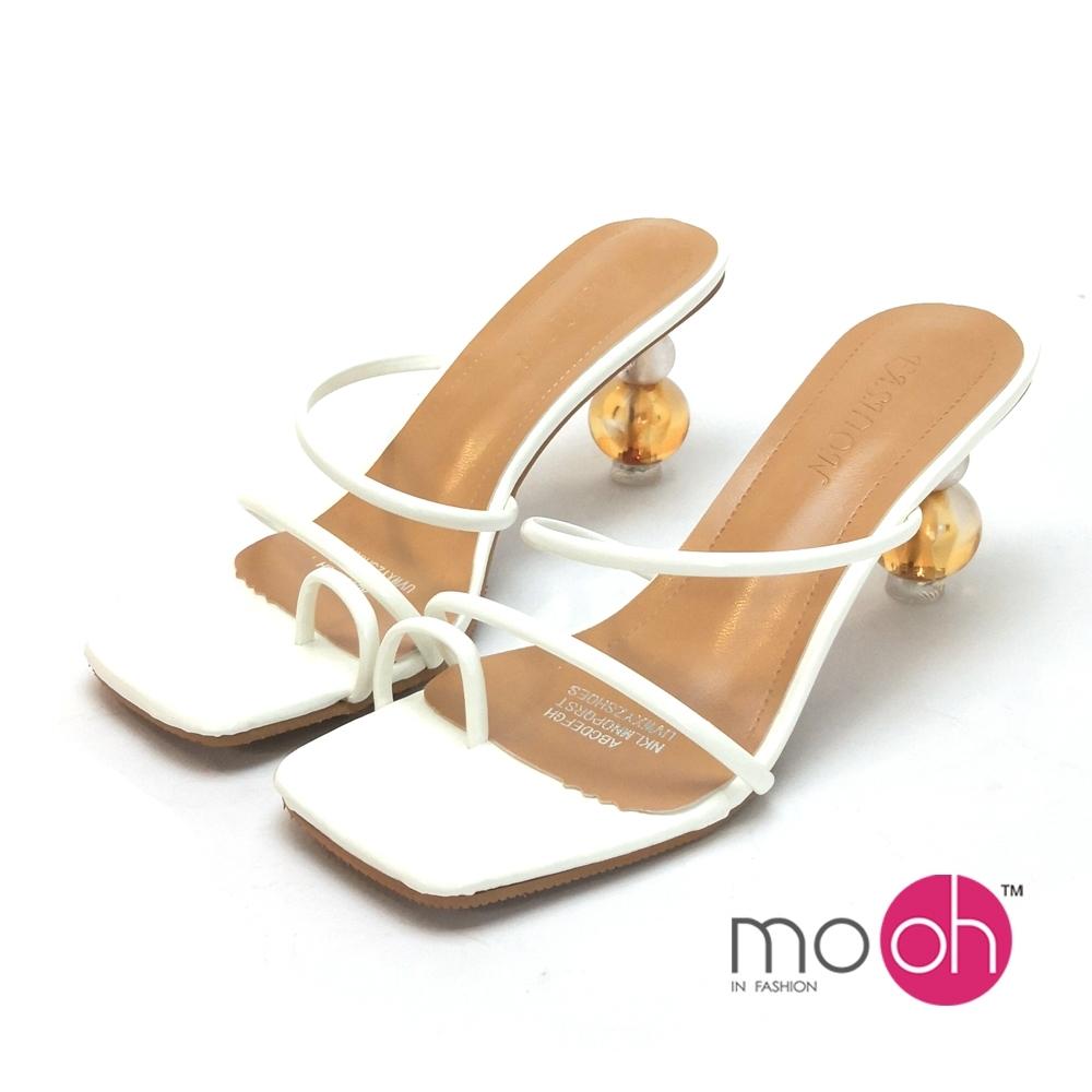 mo.oh高跟拖鞋仙女夾腳異形鞋跟涼鞋白色