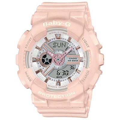BABY-G 柔美玫瑰金設計休閒運動雙顯錶-粉(BA-110RG-4A)/43.4mm